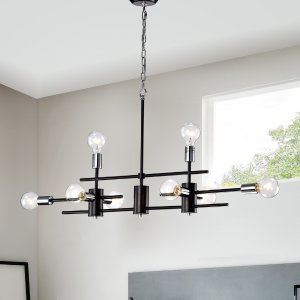 Houzz8-Light Black and Chrome Exposed Bulb Linear Chandelier - Contemporary - Chandeliers - by Edvivi Lighting