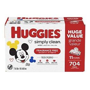 2箱$22.96Huggies Simply Clean 无香型湿巾11袋,共 704 抽