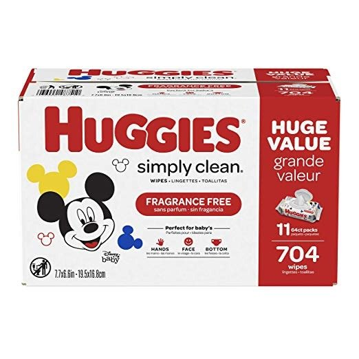 Simply Clean 无香型湿巾11袋,共 704 抽