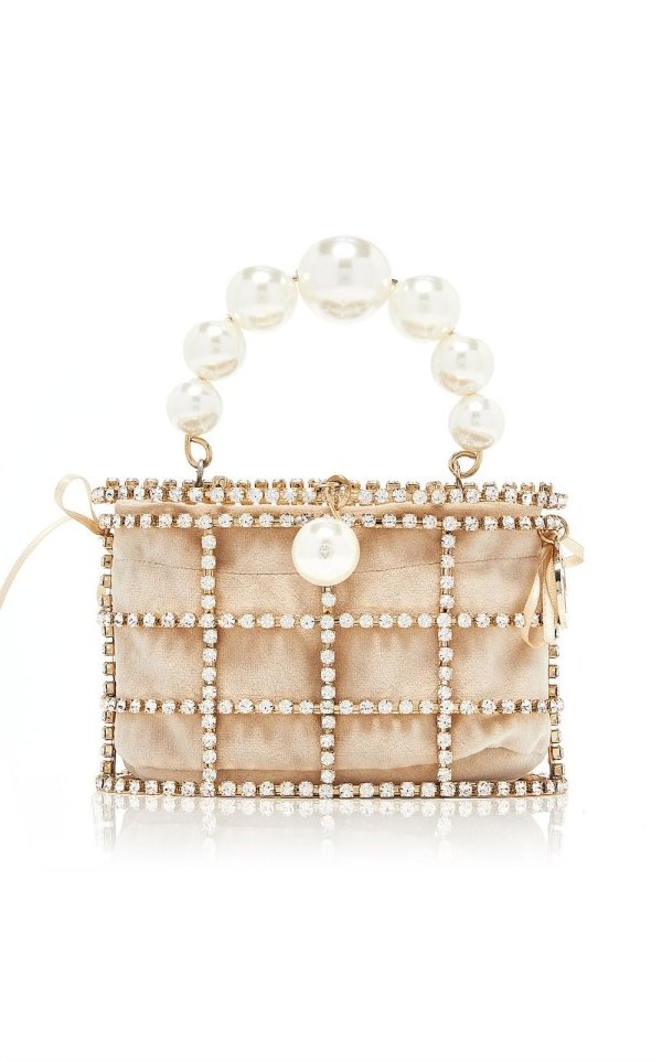 Mini Holli珍珠水钻盒子包