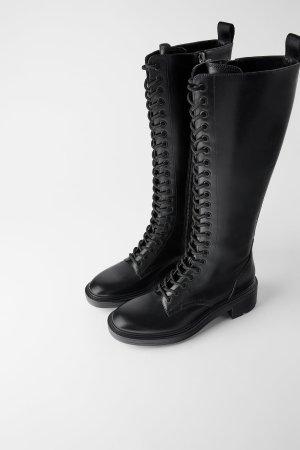 Zara 绑带高筒靴