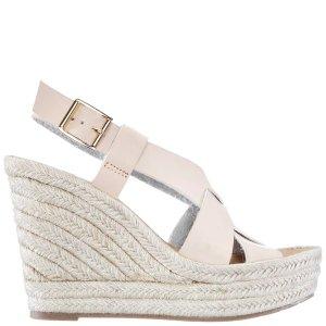 HERMOSA-SAND CALF/PU 坡跟编织凉鞋