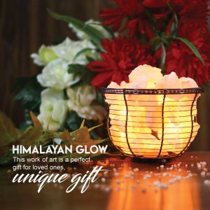 $20.98 (原价$45.03)史低价:Himalayan Glow 喜马拉雅水晶盐灯 篮筐小火盆造型