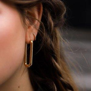 Missoma赵小棠、肯豆同款金色长方形耳环
