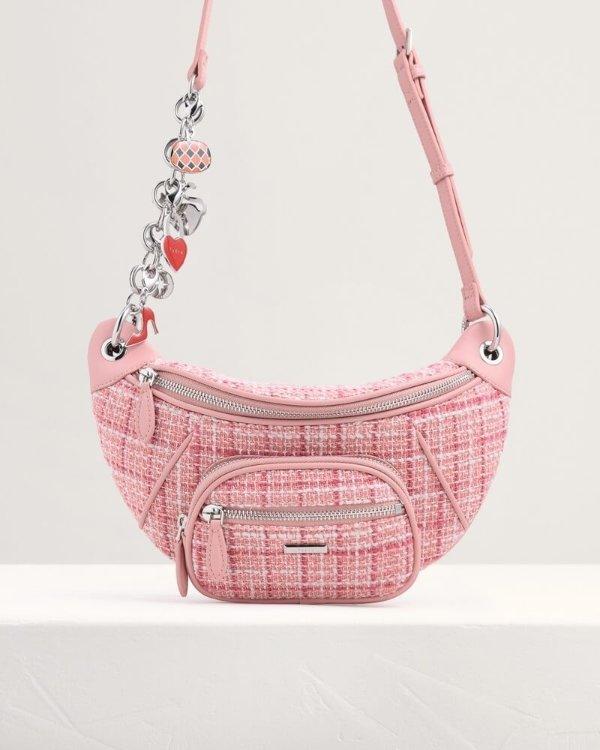 粉色呢子斜挎包