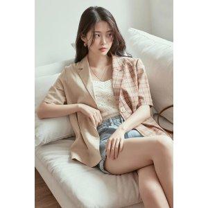 Plaid Fabric-Block Short-Sleeve Blazer