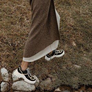 Charles & Keith厚底印花蕾丝运动鞋