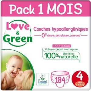 Love & Green 4号 (7-14 Kg) - Pack 1 Mois (184 Couches)