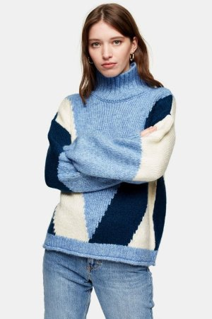 Knitted Colour Block Sweater | Topshop
