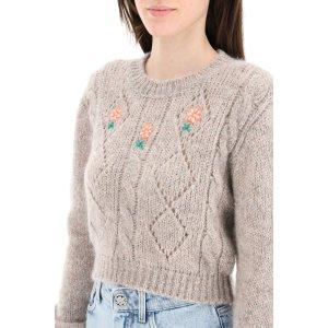 Alessandra Rich花朵刺绣毛衣