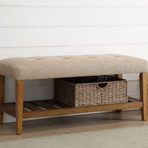 ACME Furniture 96682 Charla Bench, Beige & Oak