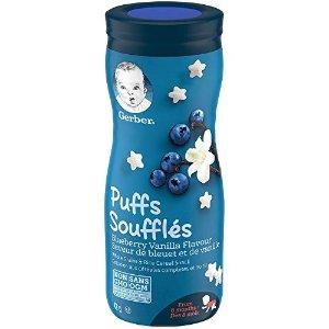 蓝莓香草味GERBER PUFFS Blueberry & Vanilla, Baby Snacks, Cereal Snack, 8+ months, 42 g, 6 Pack