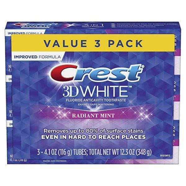 Crest 3D 美白牙膏 4.1 oz 3支装