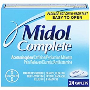 Amazon.com: Midol Complete, Menstrual Period Symptoms Relief Including Premenstrual Cramps, Pain, Headache, and Bloating, Caplets, 24 Count: Health & Personal Care