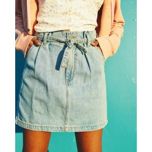 HollisterUltra High-Rise Paper-Bag Denim Skirt