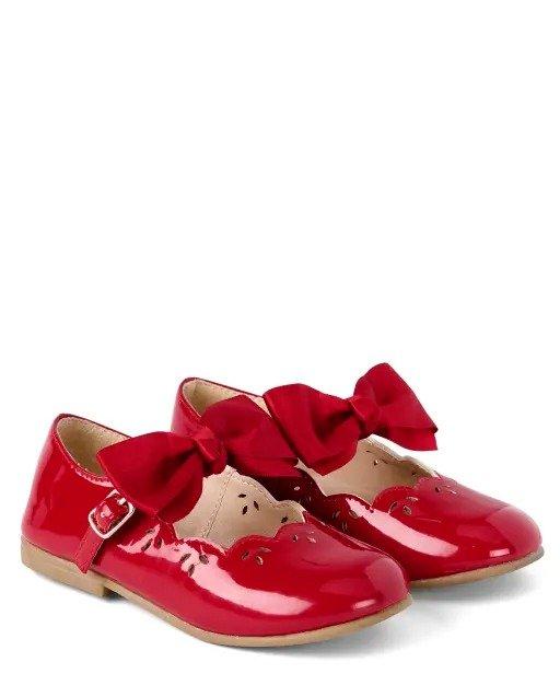 女童蝴蝶结小红鞋
