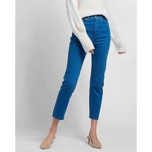 ExpressSuper High Waisted Medium Wash Mom Jeans