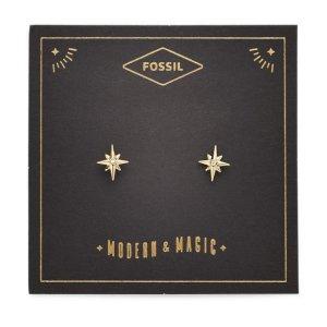 Fossil买2件享8折,买3件享7折六角星耳钉