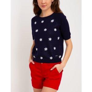 US Polo Association小花短袖毛衣