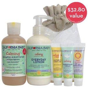 $17.94 价值$32.8加州宝贝 新生婴儿舒缓洗护礼品套装,含金盏花霜