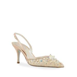 Rene Caovilla75mm蕾丝水晶鞋