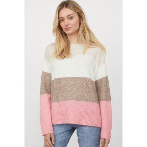 H&M条纹拼色毛衣
