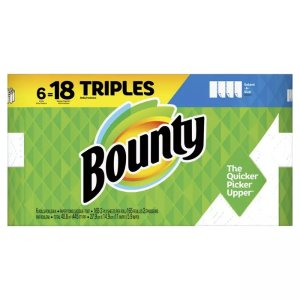 Bounty Paper Towels Select-A-Size White 6 Triple Rolls =18 Regular Rolls