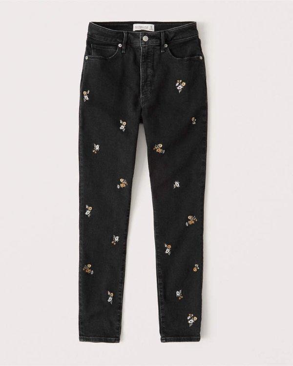 绣花牛仔裤