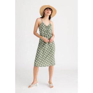 Linden 绿色波点连衣裙