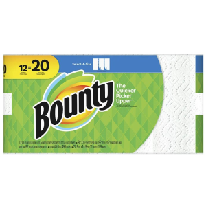 $17.49(原价$25.49)Bounty 厨房纸12大卷 相当于普通20卷 厨房擦水抹油必备