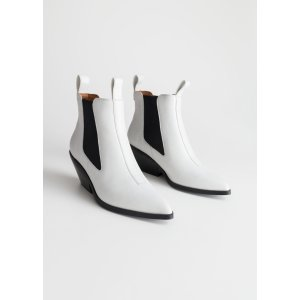 storiesLow Leather Cowboy Boots - White - Ankleboots - & Other Stories