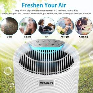$80.49(原价$149.99)Renpho 空气净化器 适合宽敞房间 有效捕集99.97%空气微粒