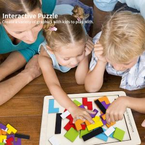 彩色益智拼图仅€9.97 3-6岁Buself 儿童益智玩具 木质七巧板拼图 俄罗斯方块造型