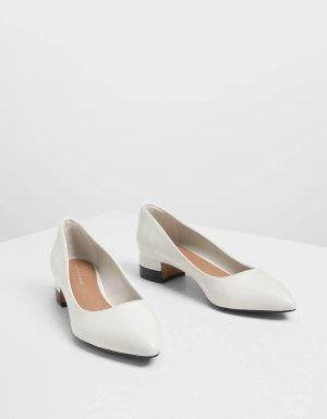 Chalk Classic Pointed Toe Pumps | CHARLES & KEITH US