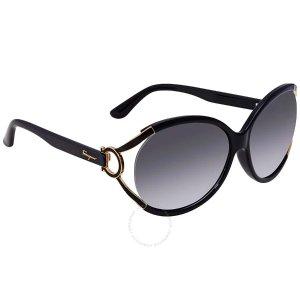 Salvatore Ferragamo Grey Gradient Round Ladies Sunglasses SF600S 001