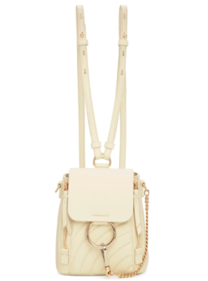 Chloé: Off-White Quilted Mini Faye Backpack | SSENSE