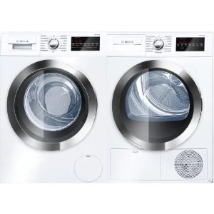 BoschBOWADREUC402 Side-by-Side Washer & Dryer Set with Front Load Washer and Electric Dryer in White