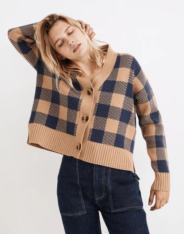 格纹针织外套