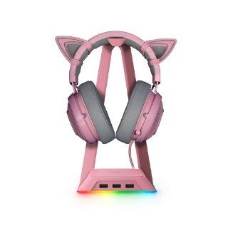 耳机+底座+猫耳$139.99起Razer 粉晶系列套装促销,套装购买更超值