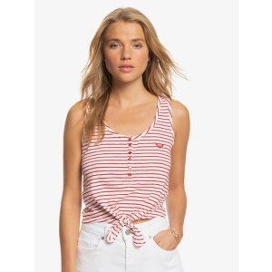 RoxySweet Symphony Cropped Tie-Front Tank Top