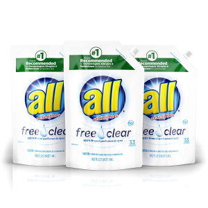 Amazon all Liquid Laundry Detergent Easy-Pouch, 3 Count, 99 Total Loads