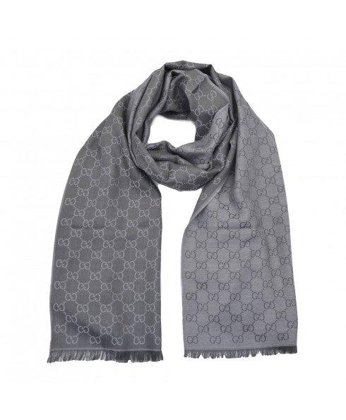 真丝羊毛双面灰色围巾