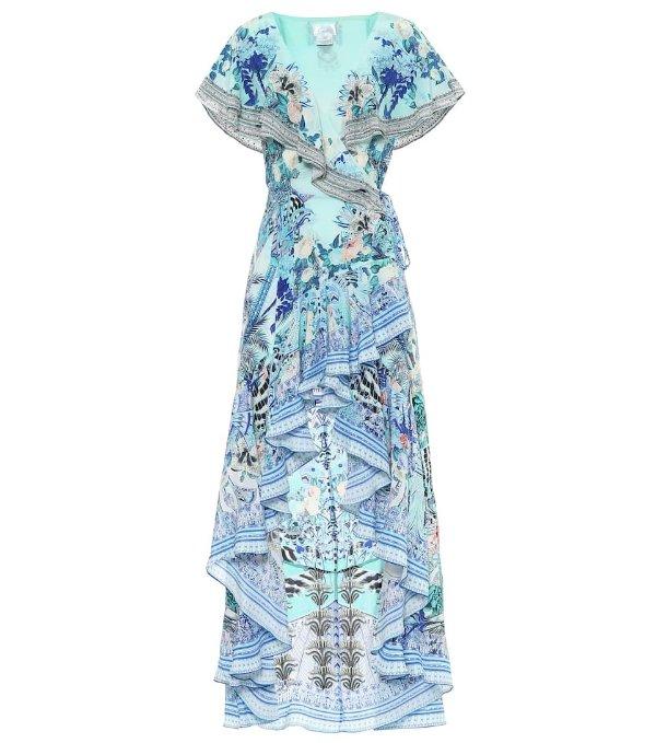 丝质印花连衣裙