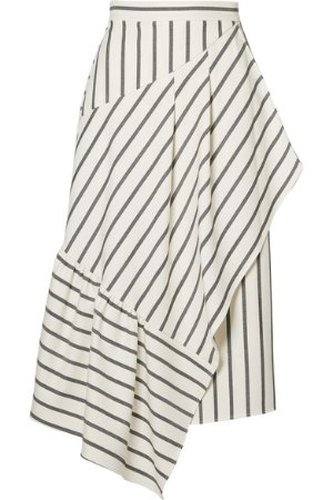Tibi | Lucci wrap-effect striped twill midi skirt | NET-A-PORTER.COM