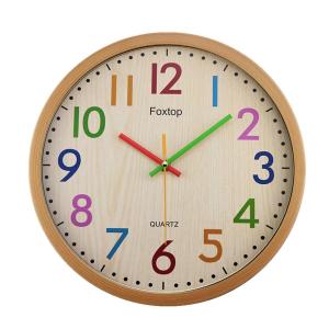 $23.99 (原价$60)Foxtop 儿童房/婴儿房 彩色木制复古风格挂钟