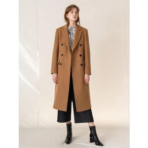 KINDERSALMONCashemere Double Breasted Coat Camel