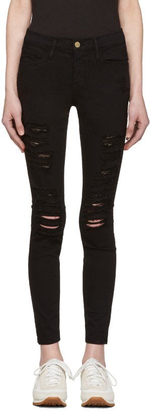 Frame Denim: Black Le Color Ripped Jeans | SSENSE