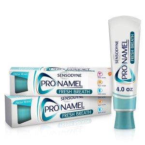 SensodynePronamel Fresh Breath Enamel Toothpaste for Sensitive Teeth, to Reharden and Strengthen Enamel, Fresh Wave - 4 Ounces (Pack of 2)