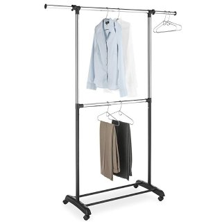 $14.39Whitmor Adjustable 2-Rod Garment Rack - Rolling Clothes Organizer - Black and Chrome