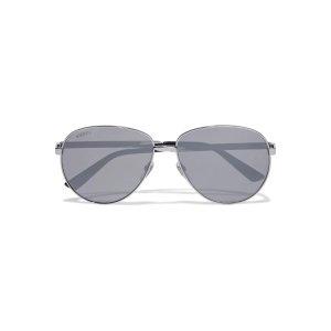 GucciAviator-style silver-tone sunglasses